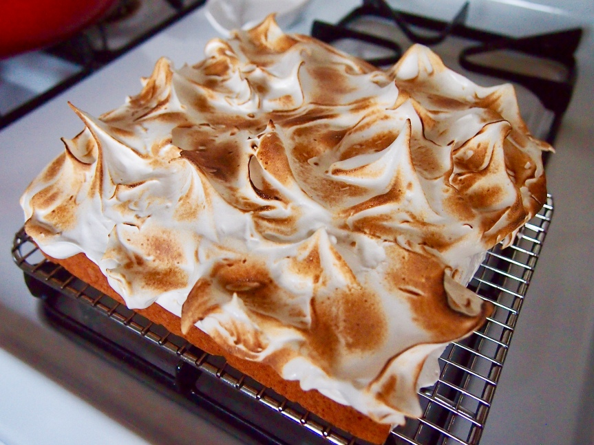 Sweet potato cake with marshmallow topping